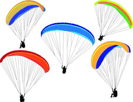 paragliding collection - vector Ilustrace