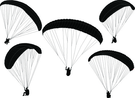paragliding collection - vector Illustration