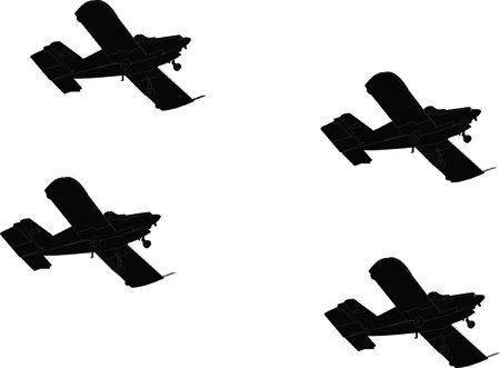 Aircraft formation silhouette