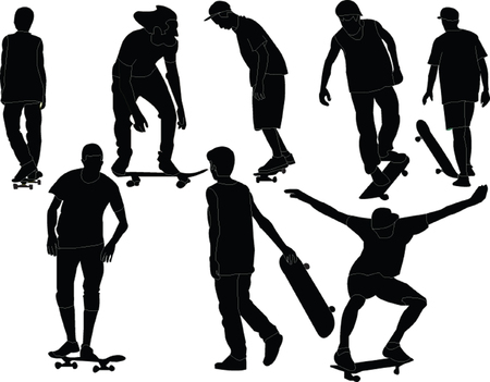 skateboarding tricks: skateboards collection  Illustration