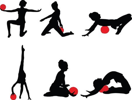 gymnastics girls - vector