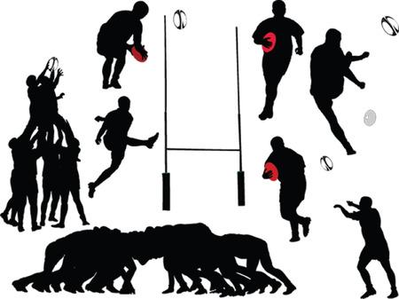 pelota rugby: recogida de los jugadores de rugby - vector