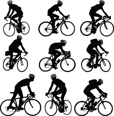 bicyclists silhouette