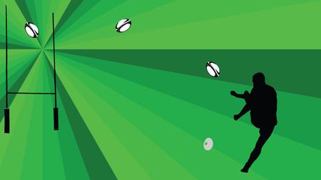 pelota rugby: jugador de rugby con el fondo - vector Vectores