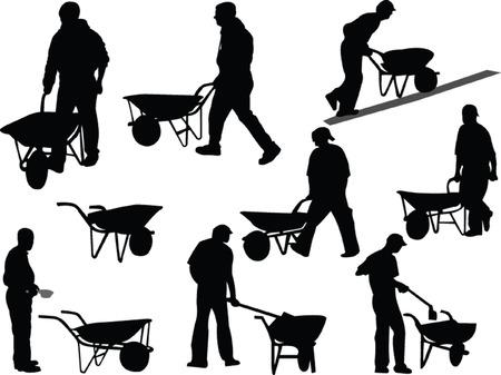 carretilla: los trabajadores de la construcción - vector Vectores
