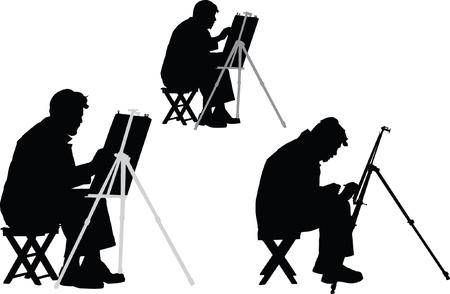 mature men: artist - vector