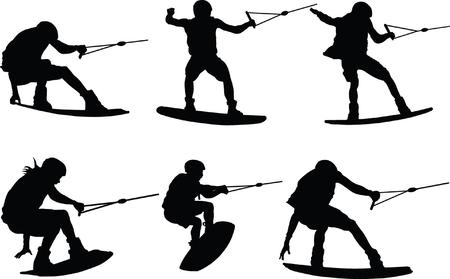 water skiing - vector Vectores