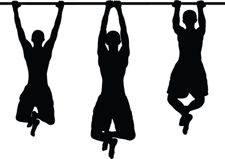 horizontal bar: street workout - vector