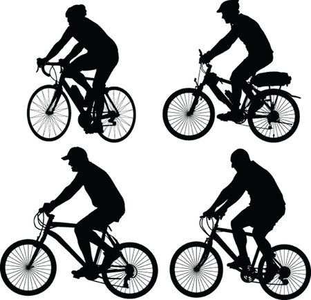 bicyclists: bicyclist silhouette - vector