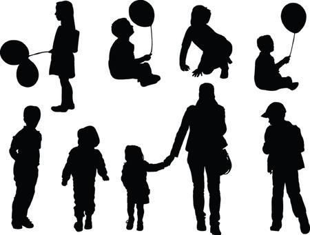 silueta niño: recogida de los niños - vector
