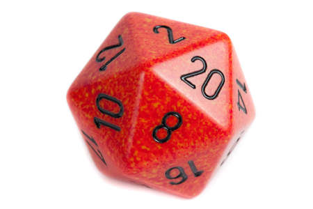 rpg: Big orange marble twenty sided die Stock Photo