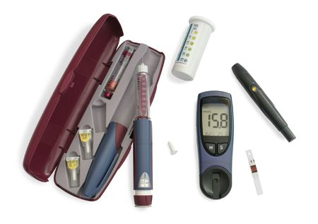Blood glucose meter, insulin pen, test strip, lancing device photo