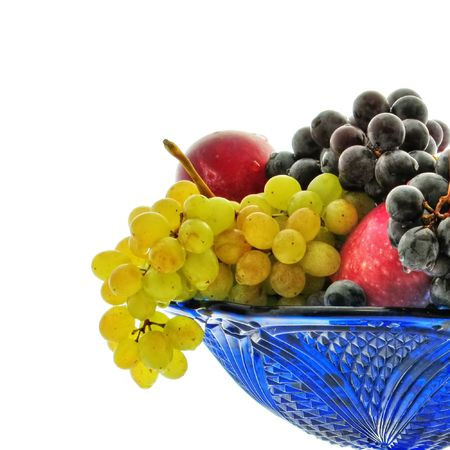 Bunches of grapes, red apple, plum, vase, drops photo