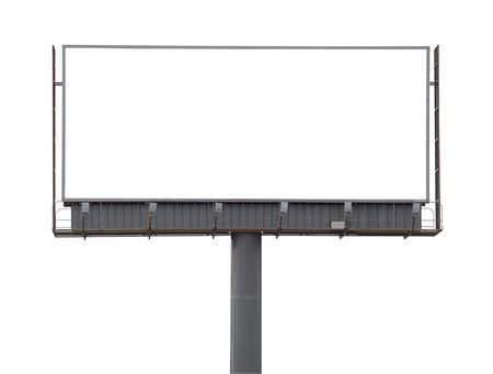 Large blank billboard on a white background