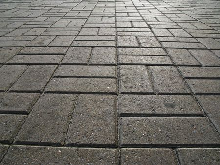 The road surface of concrete blocks
