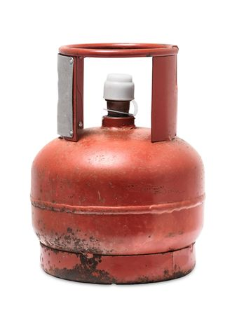 Isolated rusty cylinder with white lid photo