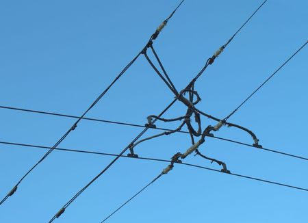 Suspension of electric cables under tension, for electrical transport Stock Photo