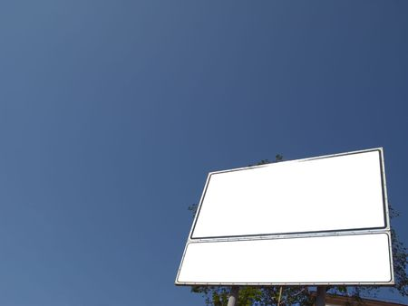 Billboard with two sections and the blue sky Stock Photo