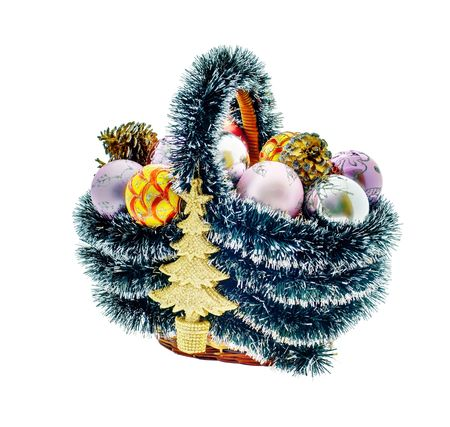 A set of Christmas decorations, balls, heart, cones and basket