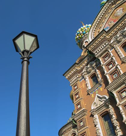 Lantern and the Cathedral of the Resurrection sunlit, Saint Petersburg, Russia photo