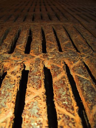 Very rusty lattice of drainage system Stock Photo