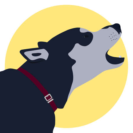 Husky dogs head with red collar barking illustration.