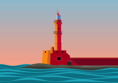Lighthouse stands on the seashore in sunset time vector illustration