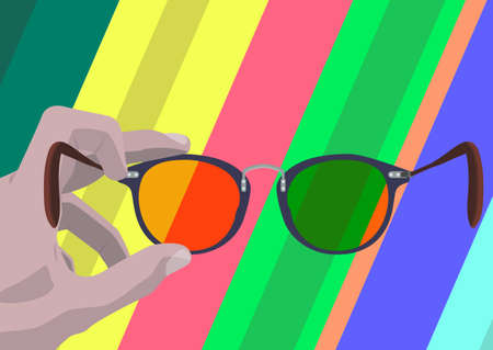 Somebodys hand holding glasses so you like looking through them on abstract multicolored background. Illustration