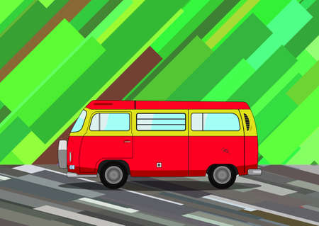 Vintage red minivan moves on abstract ground with abstract background Illustration