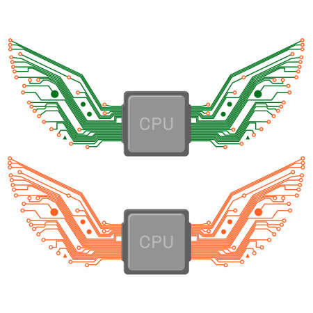 Isolated stylized circuit wings spreading out from processor or chip, two variations 向量圖像