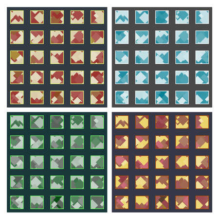 Set of four seamless patterns with grid-sorted squares and lot of rhombuses inside, several color ideas Illustration