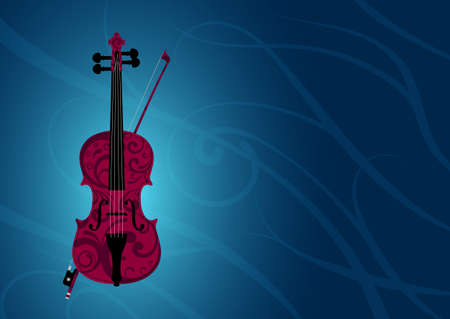 Dark-red violin and bow painted with floral style on blue background with vines vector illustration with space for text or something else