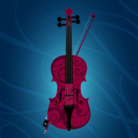 Dark-red violin and bow painted with floral style on blue background with vines vector illustration
