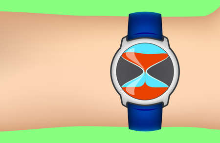 Wrist watch stylized by sandglass wearing on the hand vector illustration Illustration