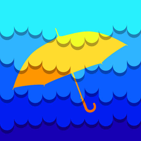 Umbrella sunny matte on abstract rain background, square version