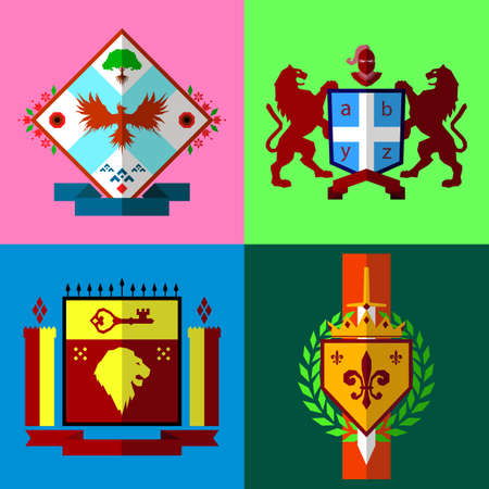 """Set of four coat of arms in """"low poly"""" style vector illustration, heraldic emblems"""