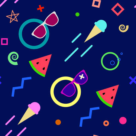 Seamless summer pattern with sunglasses, ice cream, watermelon and some geometrical elements, blue background