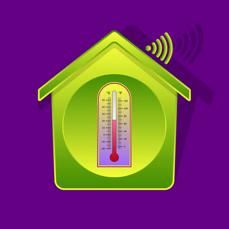 Icon-style illustration of classical thermometer inside of green-gradient house, Celsius and Fahrenheit dials, smart house concept with Wi-Fi symbol, wireless remote control