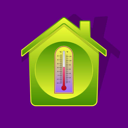 Icon-style illustration of classical thermometer inside of green-gradient house, Celsius and Fahrenheit dials, smart house symbol