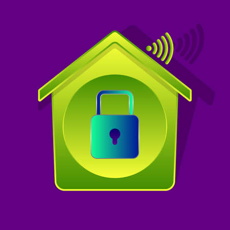 Icon-style illustration of padlock inside of green-gradient house, smart house concept with Wi-Fi symbol, wireless remote control