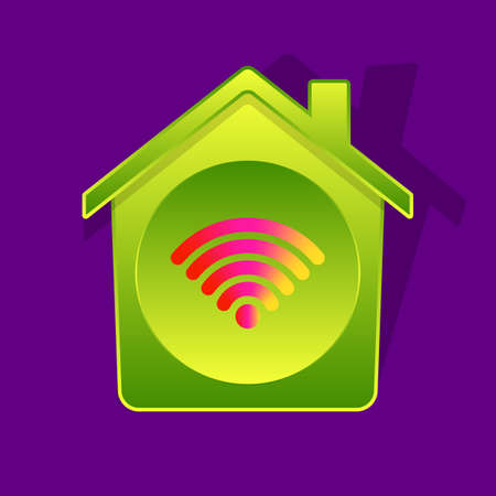 Icon-style illustration of Wi-Fi symbol inside of green-gradient house, smart house concept