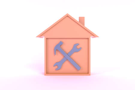 Tools Smart House Icon Illustration (orange, front view)