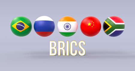 BRICS association spherical flags in line formation, volumetric acronym below, political and economic organization metaphor 스톡 콘텐츠