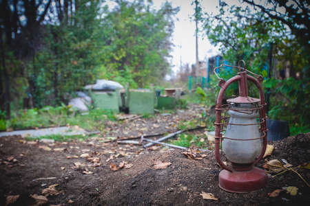 Oil lamp outdoors, Donbass and Ukraine military conflict, DPR soldiers trench life