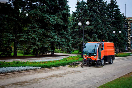 Municipal Cleaning Machine on the street, clean up city, Donetsk