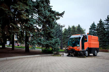 Municipal Cleaning Machine on the street, Donetsk Stock Photo
