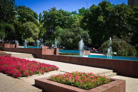 Flower beds and fountain on pedestrian area, Pushkin Boulevard in Donetsk