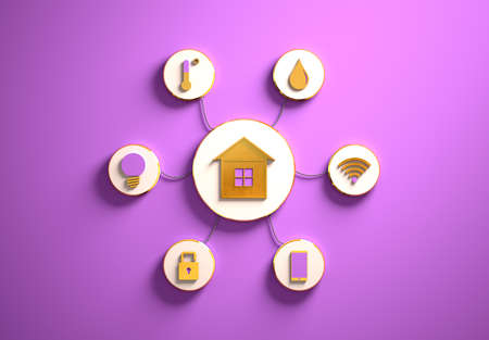 Smart house golden icons placed in disc-shaped slots, secondary icons tied with House icon in the center with phisically accurate ropes, 3d render, purple backdrop