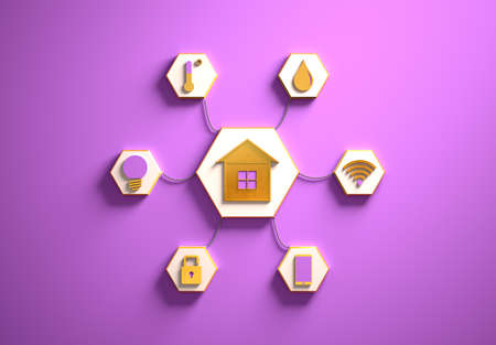 Smart house golden icons placed in hexagon-shaped slots, secondary icons tied with House icon in the center with phisically accurate ropes, 3d render, purple backdrop