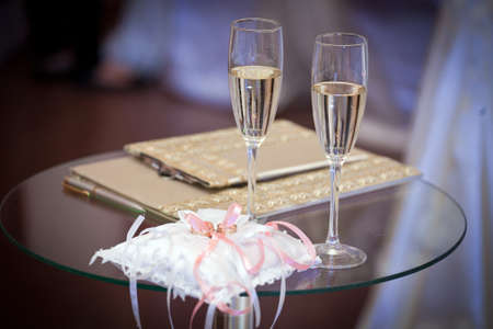 wedding glasses on the festive table, wedding accessories Banco de Imagens